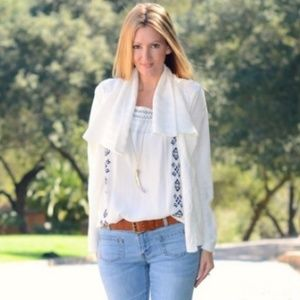 CABI #193 White Cotton Cable Open Sweater Cardigan